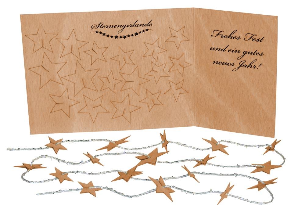 Holz Weihnachtskarten.Sternen Girlande Weihnachtskarte Aus Holz